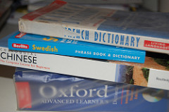 A file of translation books and dictionaries