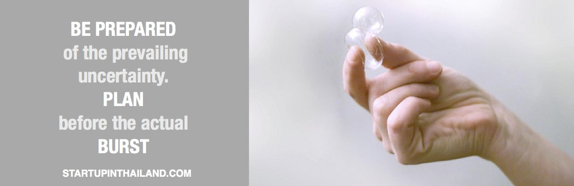 A caption 'Be prepared of the prevailing uncertainty plan before the actual burst' and a hand pinching a bubble on the right side