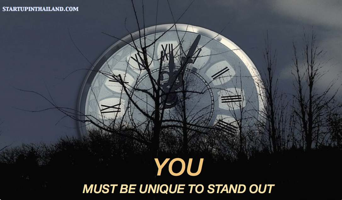 An image of a forest with a big round analog clock with roman numbers acted like a moon with text caption 'You must be unique to stand out'