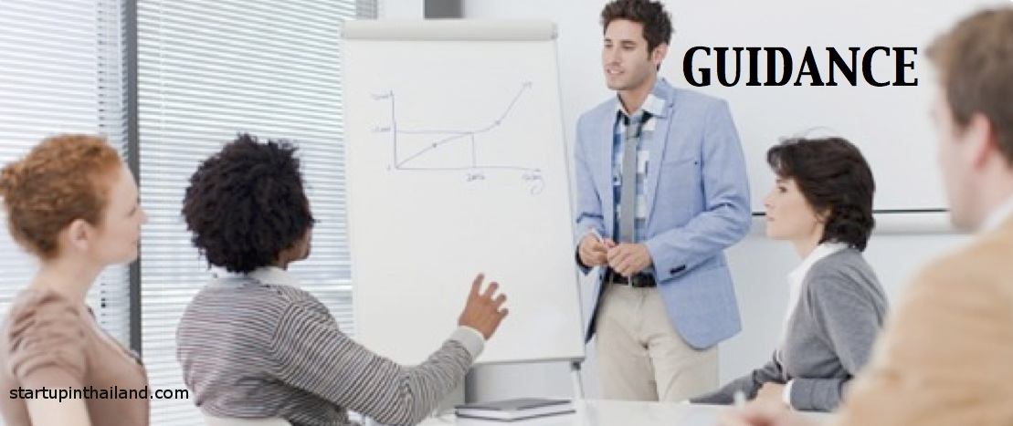 A group of staff having a meeting in an office room with one man standing beside a chart with a graph drawing while being ask by another staff