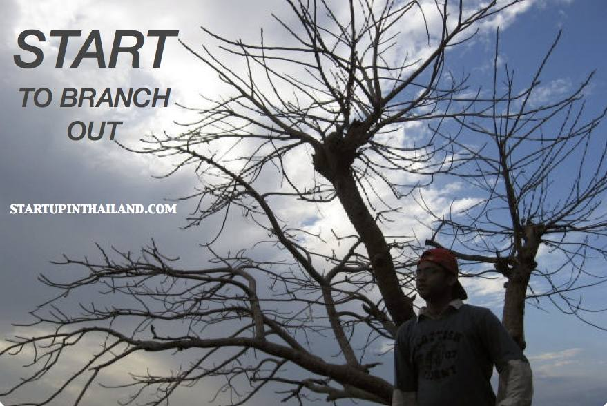 A man wearing a gray longsleeves with a red cap in reverse side and a tree branches with no leaves on his back in a cloudy blue sky with caption 'Start to Branch Out'