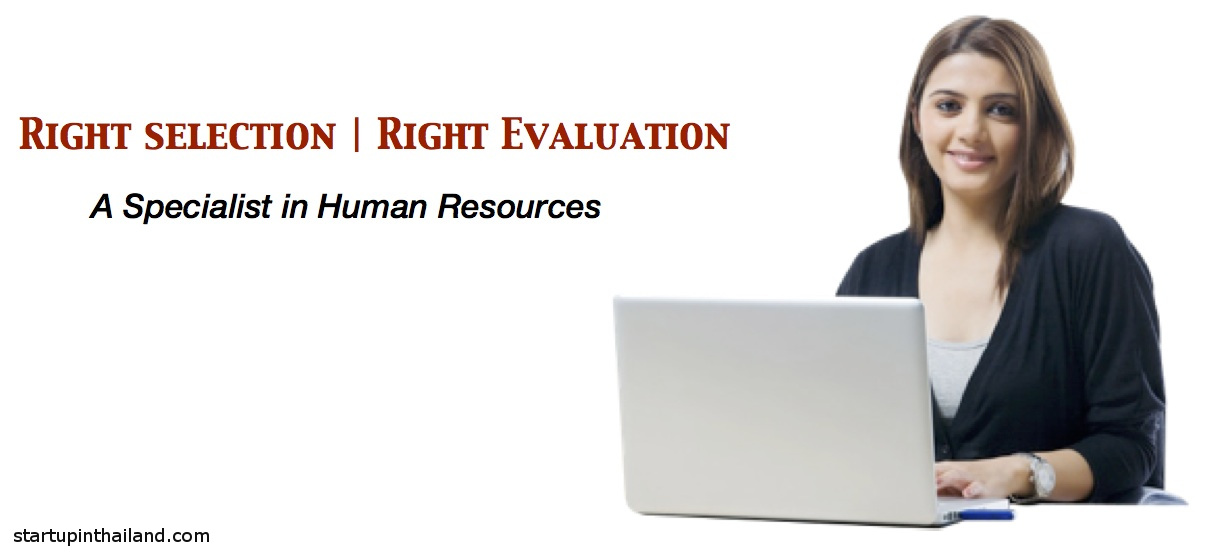 A woman with a laptop facing with a smile and hands with a watch on the keyboard with caption text Right Selection, Right Evaluation A Specialist in Human Resources
