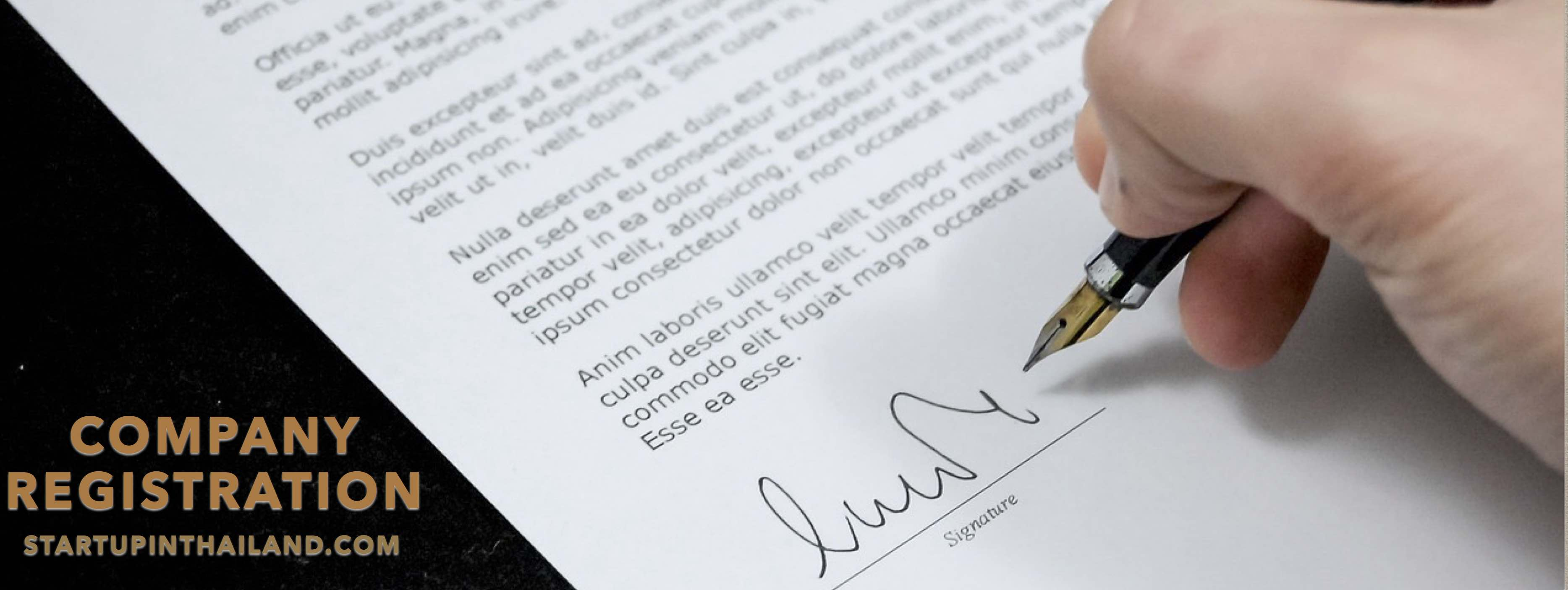 Document paper form signed by a right hand holding a black fountain pen