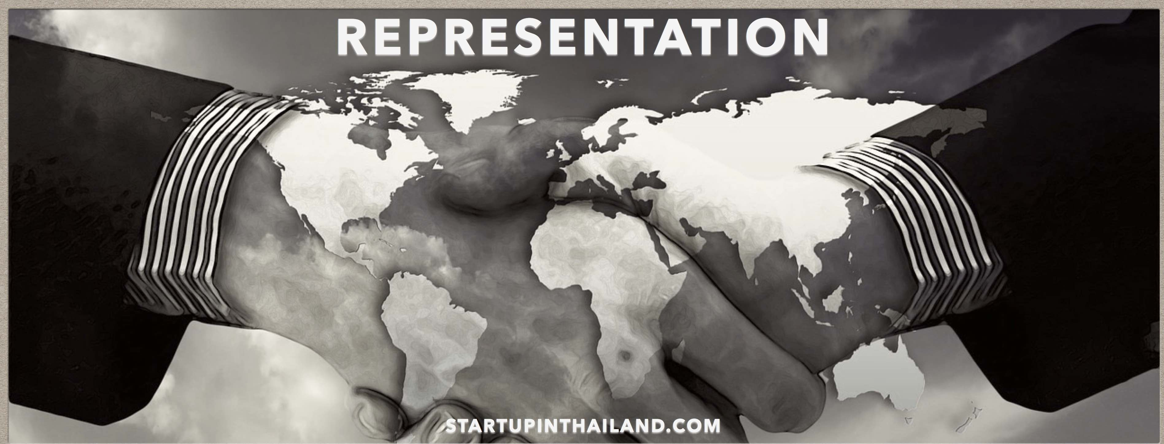 Hand shaking with black and white effect and a watermark of world map
