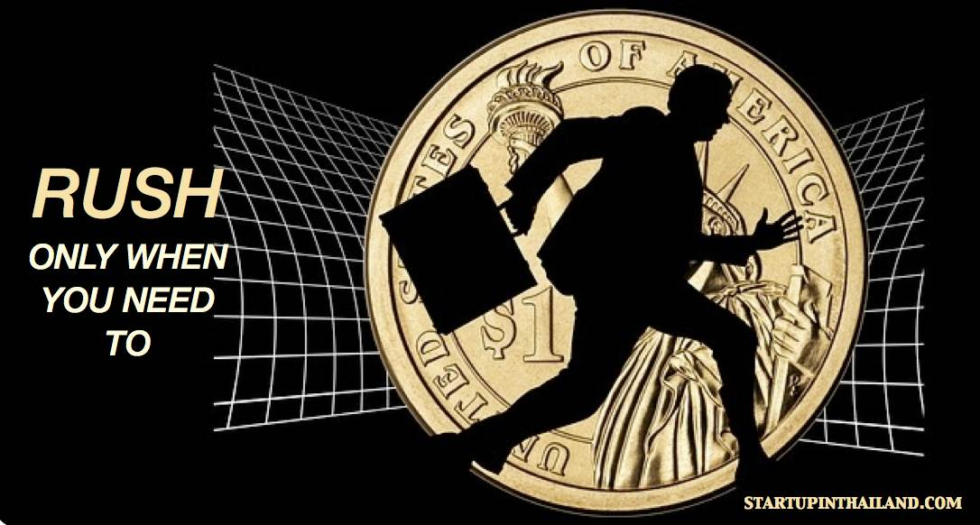 A one dollar coin with an icon shadow of a man holding a briefcase in a rush position and a caption 'Rush only when you need to' on the left
