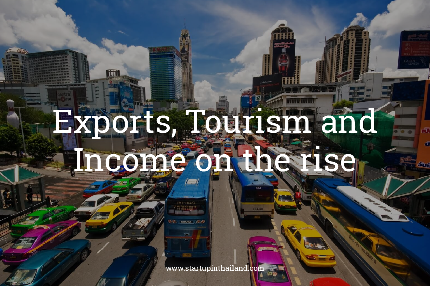 Urban street of Thailand with a busy traffic and tall buildings with text caption 'Export, Tourism and Income on the rise'