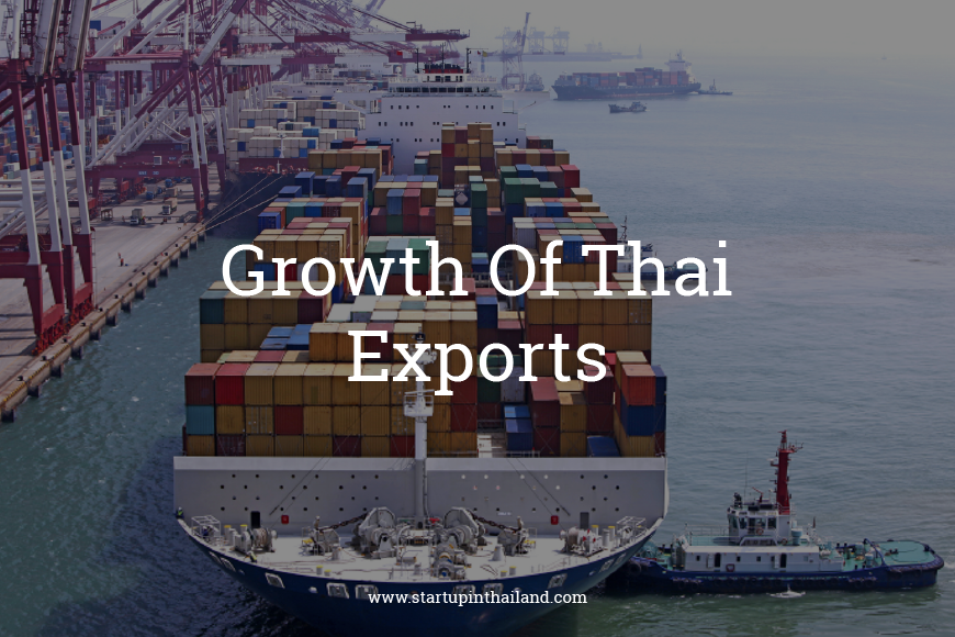 Port of Thailand with a cargo ship loaded with tons of container vans ready to sail offshore with text caption 'Growth of Thai Exports'