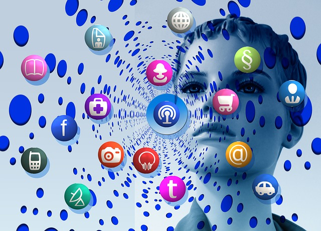 A digital image of a woman with a ripple effect of digital app icons