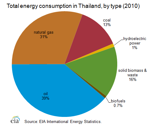 Total energy consumption in Thailand pie graph