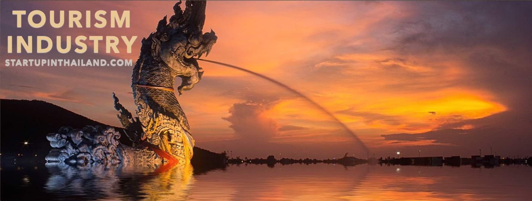 Thailand's landmark dragon fountain on side view with sunset background