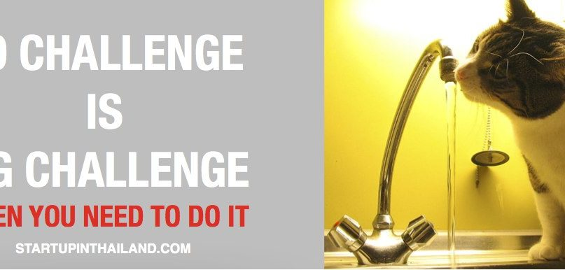 A banner like image with text word 'No Challenge is a Big Challenge when you need to do it' and an image of a cat drinking on a faucet with running water on the right side