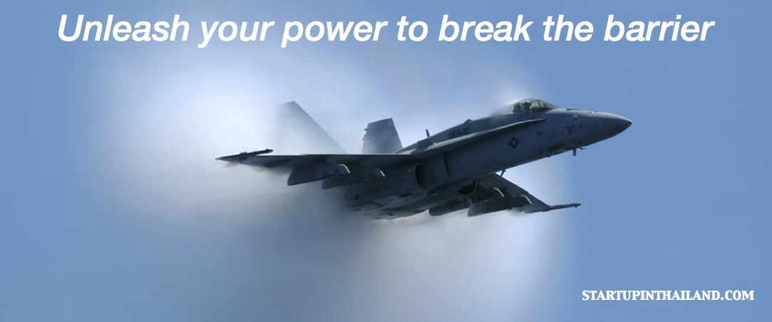 A jetplane coming out of a cloud with title text 'Unleash your power to break the barrier'