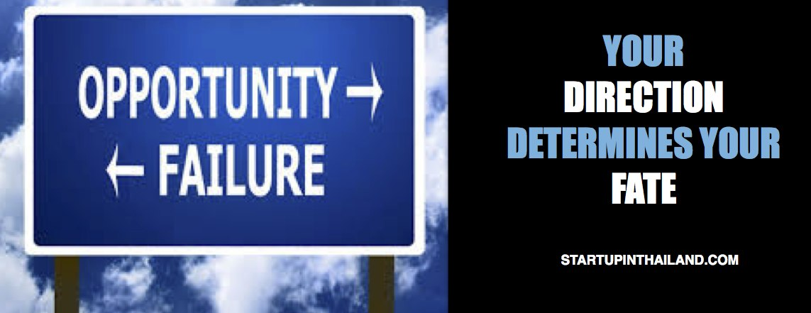 A signage with two arrows pointing left and right directions with text 'Opportunity and Failure' and a caption 'Your Direction Determines your Fate'