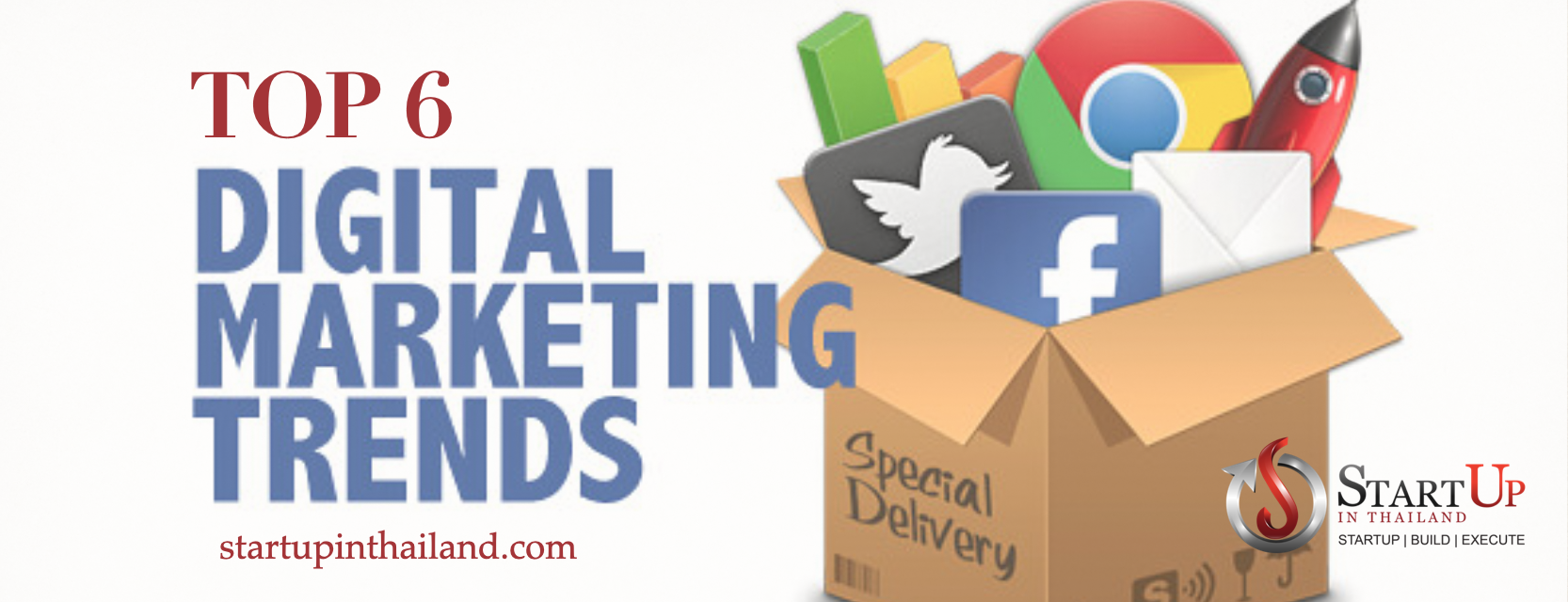 Social Media icons, a rocket and graph in a box